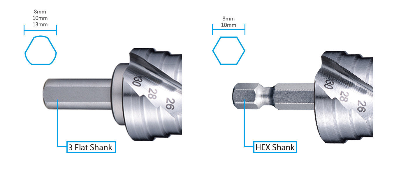 Shank of step drill fits in any portable drilling machine and pillar drilling machine.