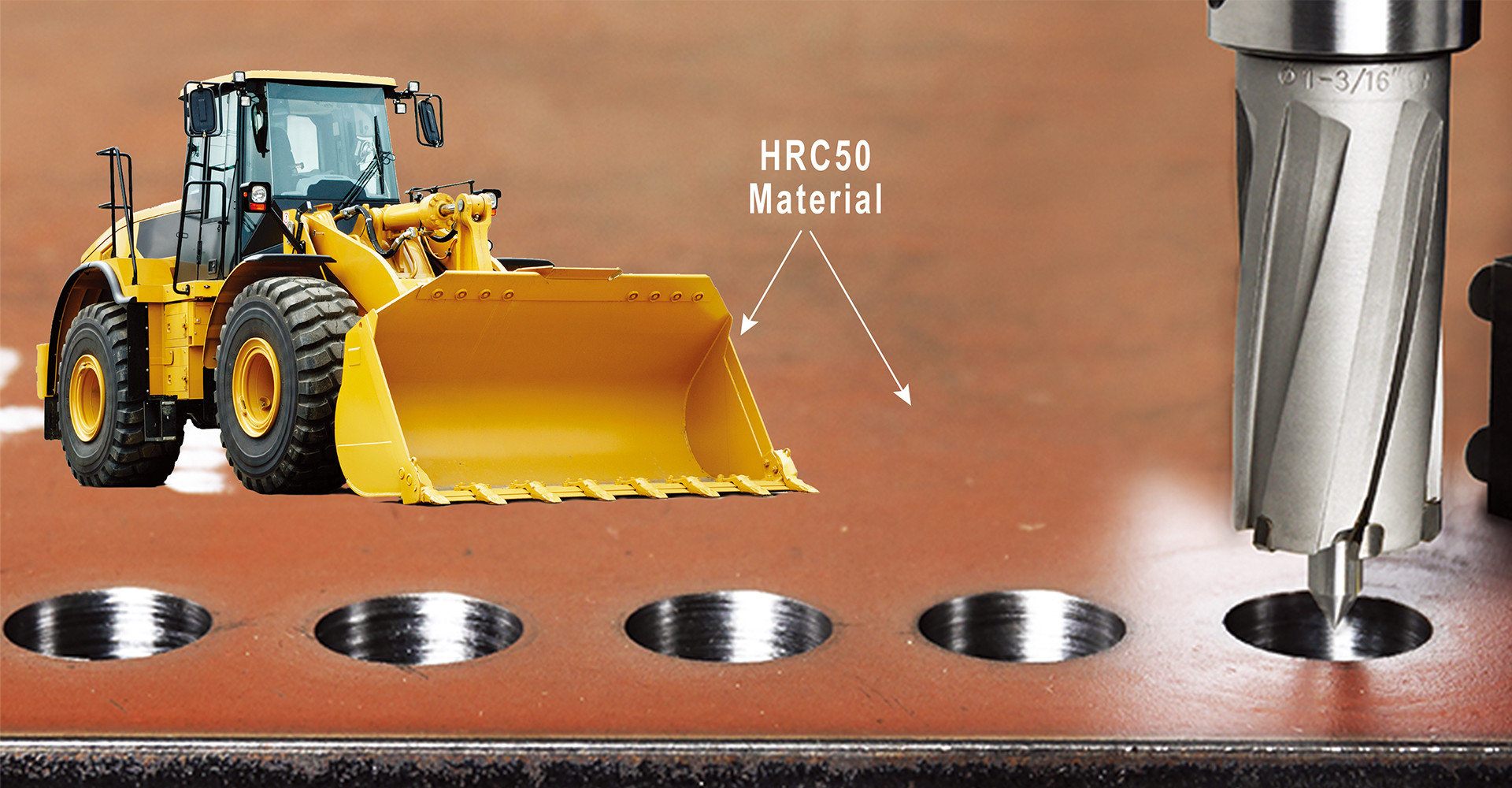 3keego HCR type annular cutters can drill extremely hard metal, such as excavator buckets or even military tanks.