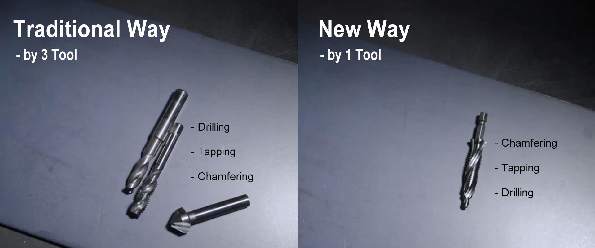 Traditional and New ways of how to drill a screw hole in sheet metal