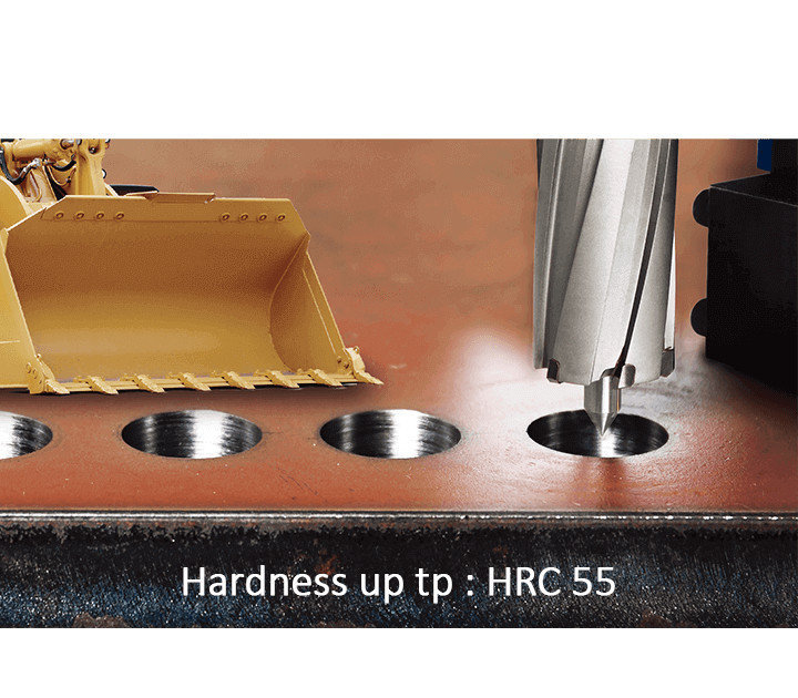 The hardness of the 3keego annular cutter HCR tia coated type is up to HRC55.