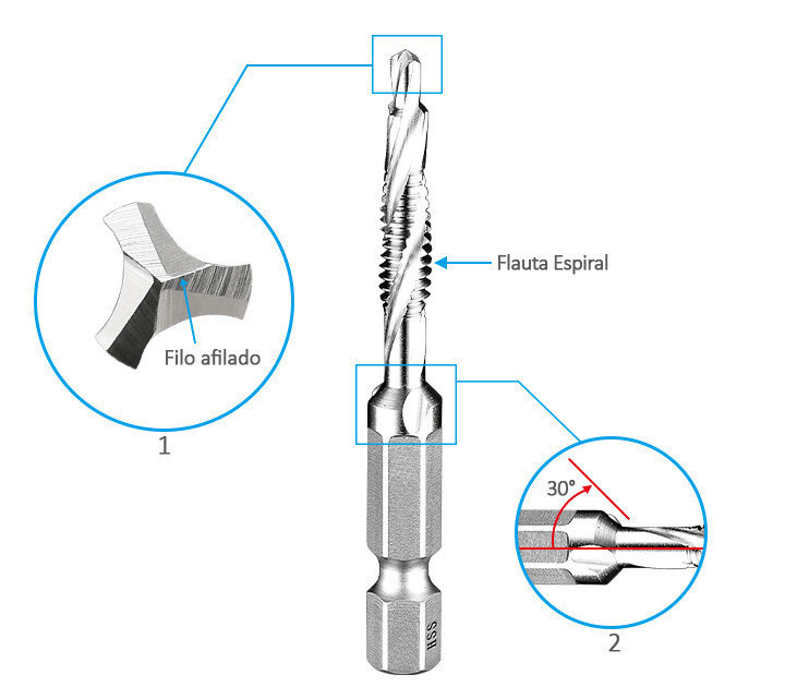 Taladro de tipo de flauta espiral es una combinación de perforación, roscado y avellanado.