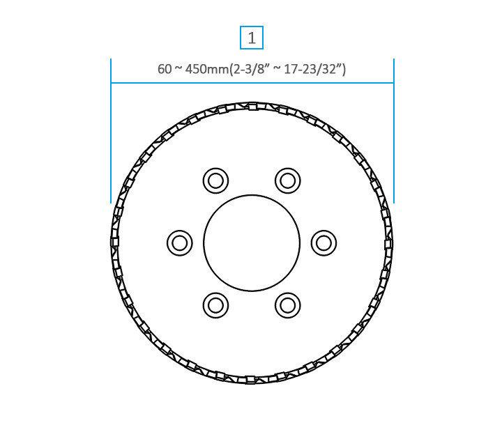 3keego シェルカードの外径は60mmから450mmまで選択可能です。