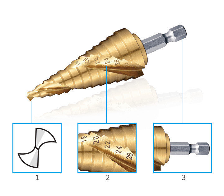 3keego SDR step dill with a hex shank and spiral flute design.